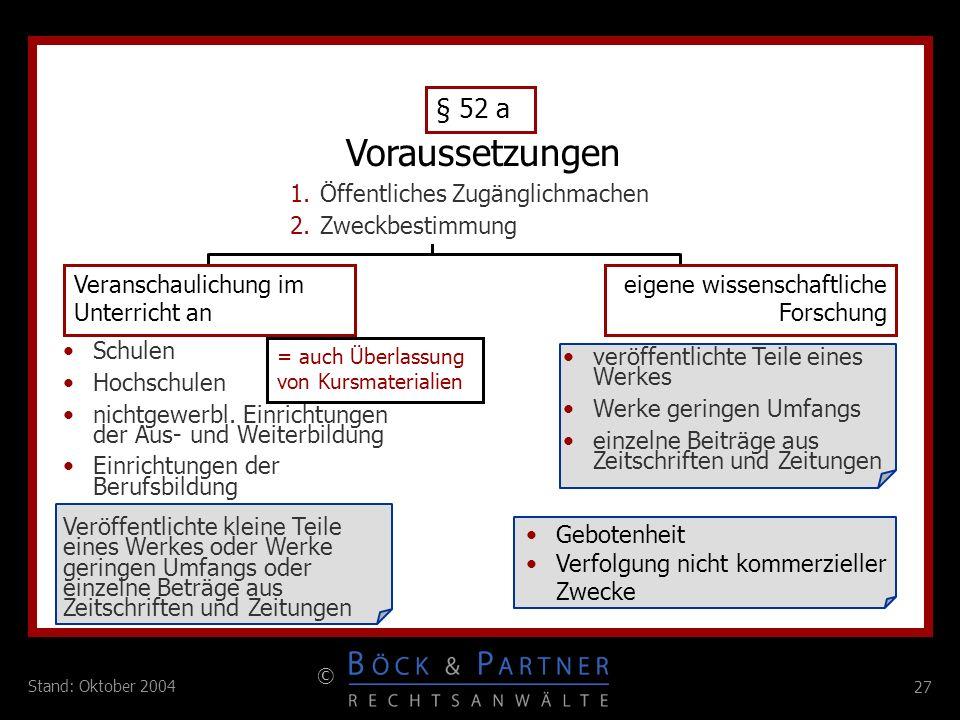 27 © Stand: Oktober 2004 eigene wissenschaftliche Forschung Veranschaulichung im Unterricht an 1.Öffentliches Zugänglichmachen 2.Zweckbestimmung Schul