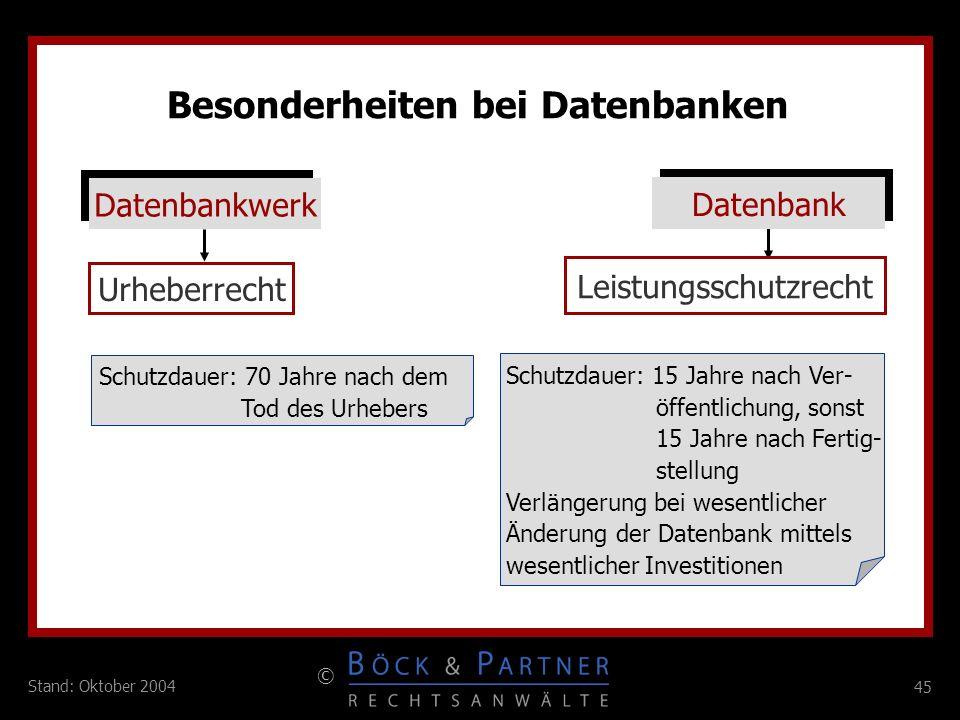 45 © Stand: Oktober 2004 Besonderheiten bei Datenbanken Datenbankwerk Datenbank Urheberrecht Leistungsschutzrecht Schutzdauer: 70 Jahre nach dem Tod d