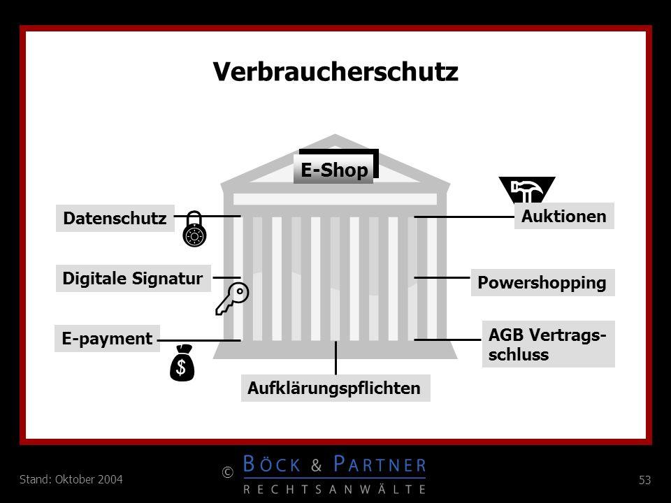 53 © Stand: Oktober 2004 E-Shop Powershopping Auktionen Digitale Signatur E-payment Datenschutz AGB Vertrags- schluss Verbraucherschutz Aufklärungspfl