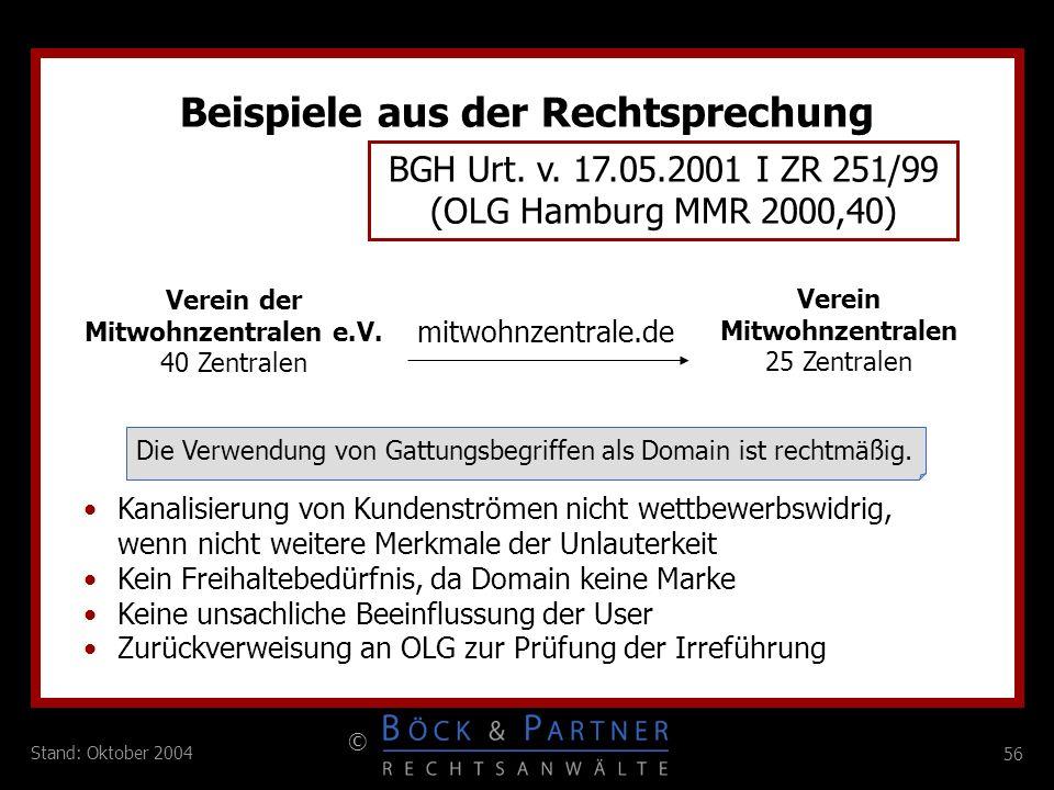 56 © Stand: Oktober 2004 mitwohnzentrale.de Verein Mitwohnzentralen 25 Zentralen Verein der Mitwohnzentralen e.V. 40 Zentralen BGH Urt. v. 17.05.2001