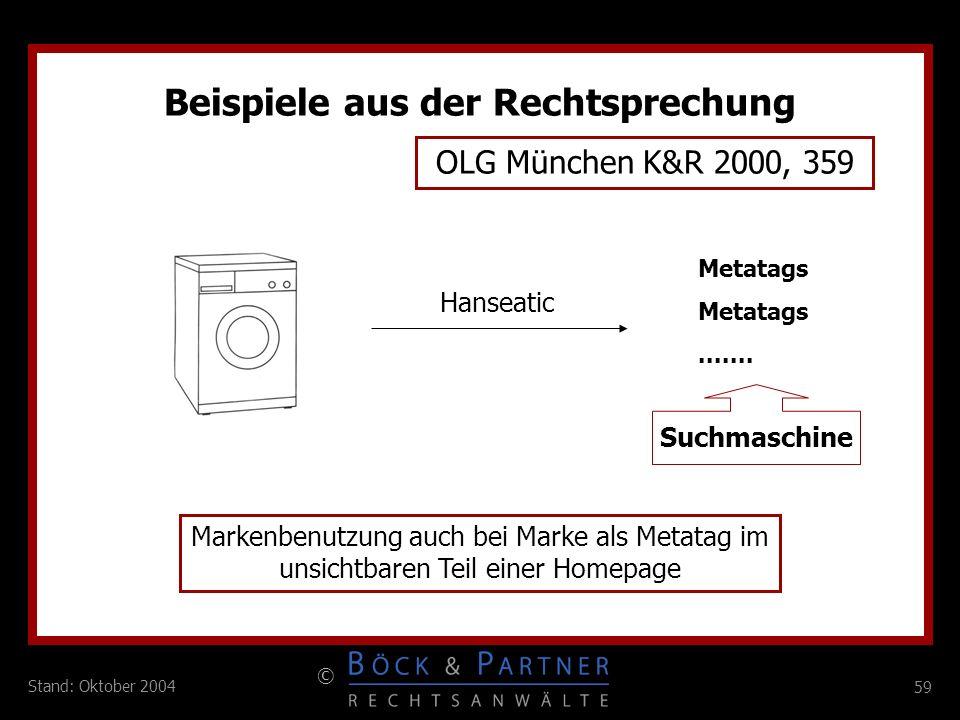 59 © Stand: Oktober 2004 Beispiele aus der Rechtsprechung OLG München K&R 2000, 359 Metatags....... Markenbenutzung auch bei Marke als Metatag im unsi