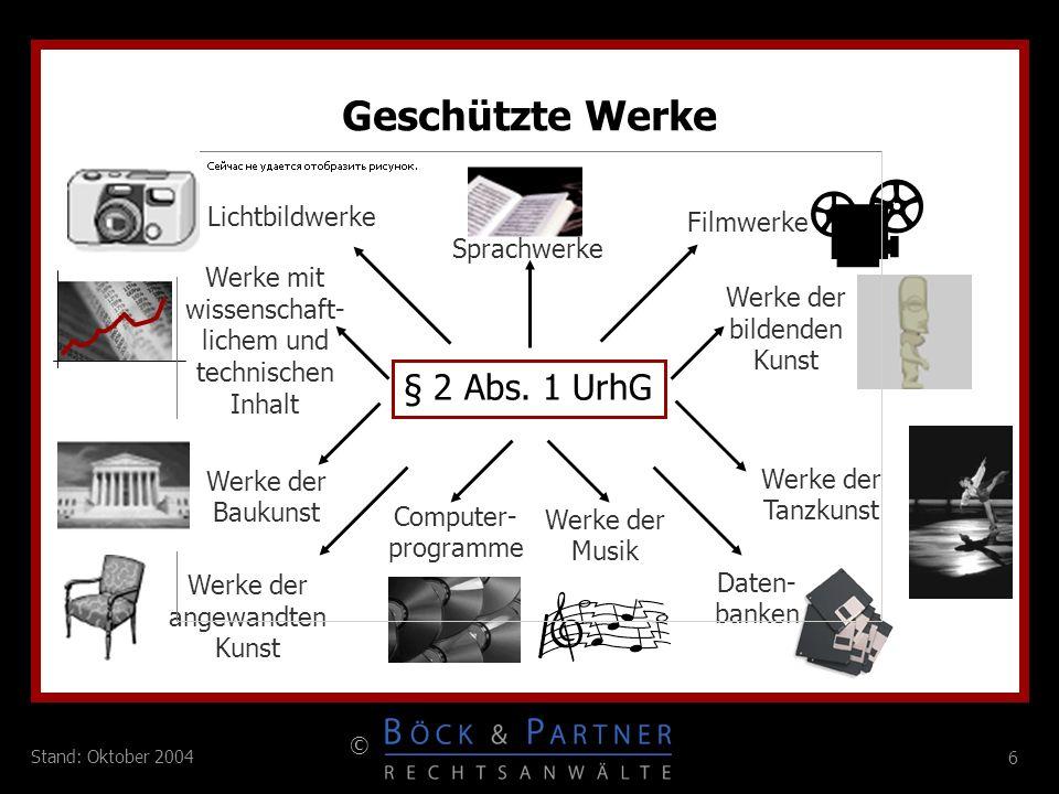 6 © 6 Stand: Oktober 2004 Geschützte Werke Daten- banken Sprachwerke Lichtbildwerke Werke mit wissenschaft- lichem und technischen Inhalt Werke der Ba