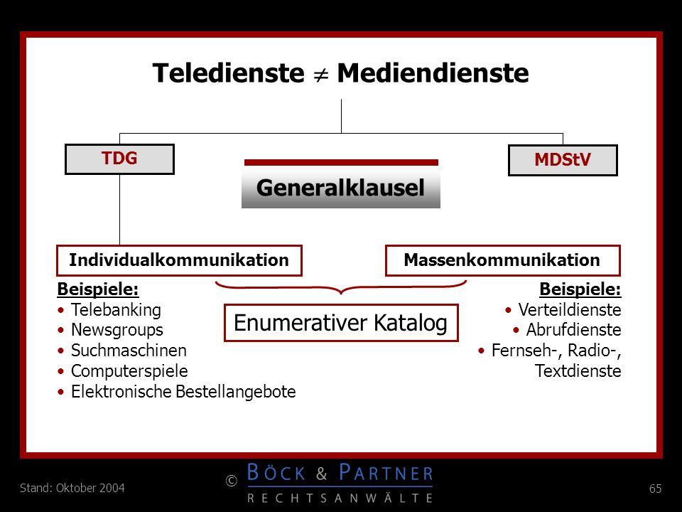 65 © Stand: Oktober 2004 Teledienste Mediendienste TDG MDStV Generalklausel IndividualkommunikationMassenkommunikation Enumerativer Katalog Beispiele: