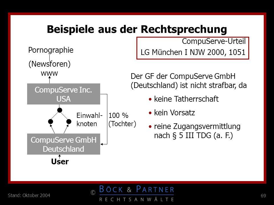 69 © Stand: Oktober 2004 Beispiele aus der Rechtsprechung keine Tatherrschaft kein Vorsatz reine Zugangsvermittlung nach § 5 III TDG (a. F.) Der GF de