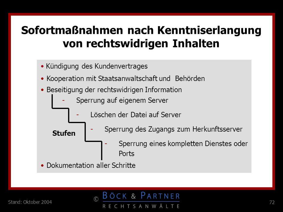 72 © Stand: Oktober 2004 C Sofortmaßnahmen nach Kenntniserlangung von rechtswidrigen Inhalten Dokumentation aller Schritte -Sperrung auf eigenem Serve