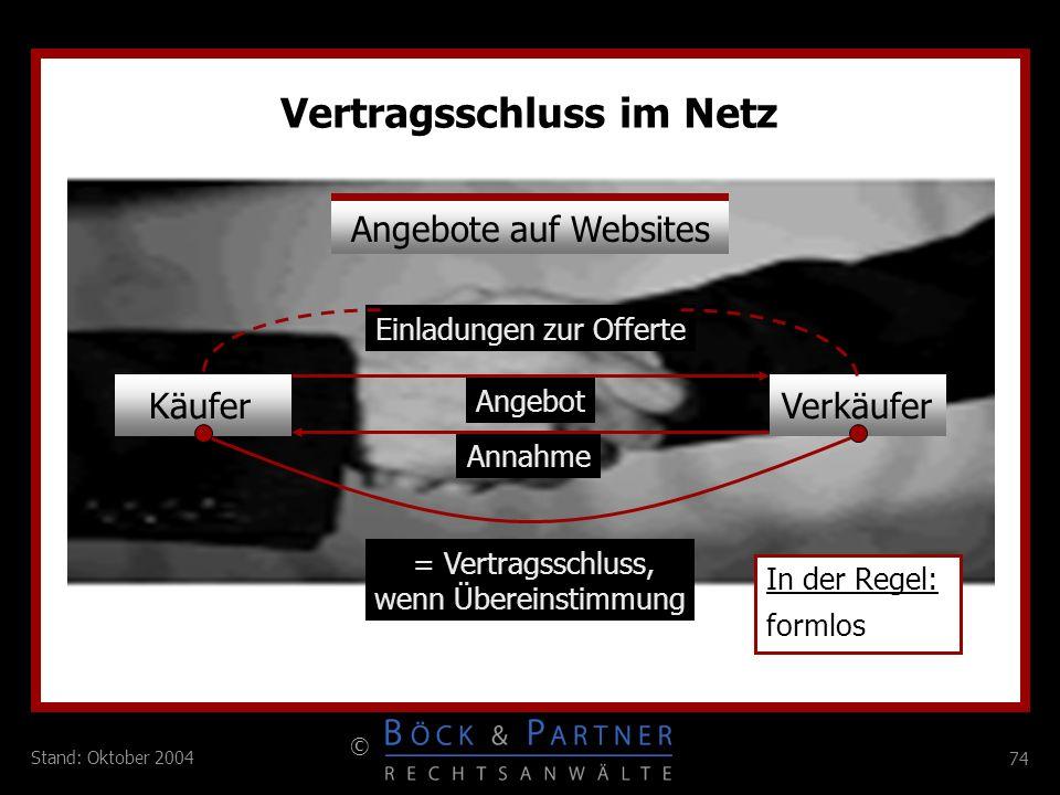 74 © Stand: Oktober 2004 Vertragsschluss im Netz = Vertragsschluss, wenn Übereinstimmung In der Regel: formlos Annahme Angebote auf Websites KäuferVer