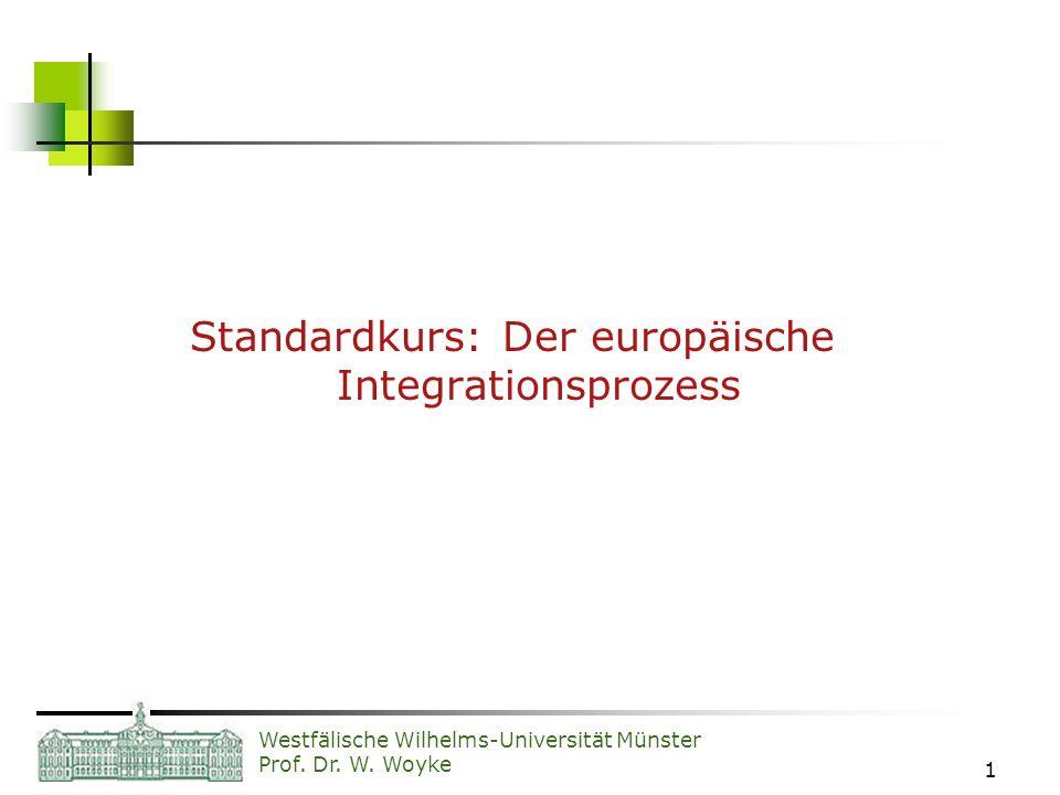 Westfälische Wilhelms-Universität Münster Prof. Dr. W. Woyke 1 Standardkurs: Der europäische Integrationsprozess
