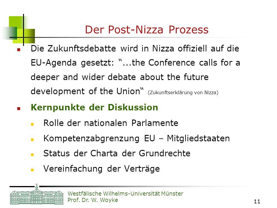 Westfälische Wilhelms-Universität Münster Prof. Dr. W. Woyke 11 Der Post-Nizza Prozess Die Zukunftsdebatte wird in Nizza offiziell auf die EU-Agenda g