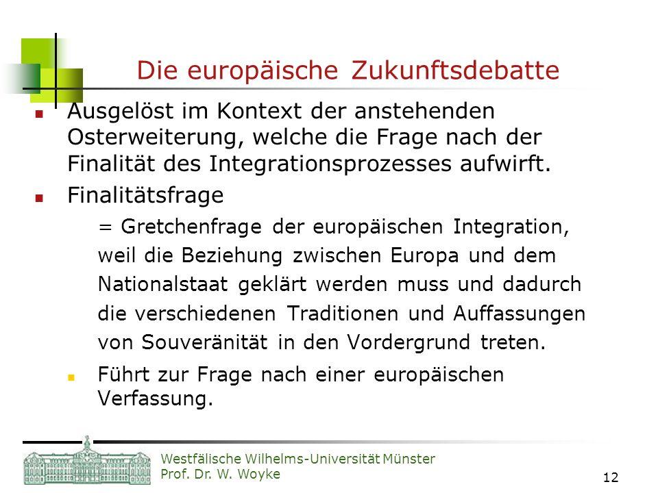 Westfälische Wilhelms-Universität Münster Prof. Dr. W. Woyke 12 Die europäische Zukunftsdebatte Ausgelöst im Kontext der anstehenden Osterweiterung, w