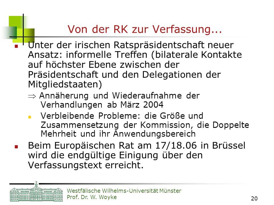 Westfälische Wilhelms-Universität Münster Prof. Dr. W. Woyke 20 Von der RK zur Verfassung... Unter der irischen Ratspräsidentschaft neuer Ansatz: info