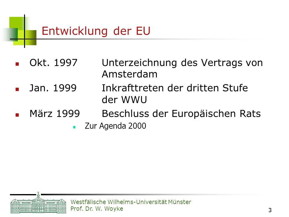 Westfälische Wilhelms-Universität Münster Prof. Dr. W. Woyke 3 Entwicklung der EU Okt. 1997Unterzeichnung des Vertrags von Amsterdam Jan. 1999Inkraftt
