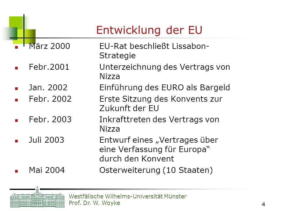 Westfälische Wilhelms-Universität Münster Prof. Dr. W. Woyke 4 Entwicklung der EU März 2000 EU-Rat beschließt Lissabon- Strategie Febr.2001Unterzeichn