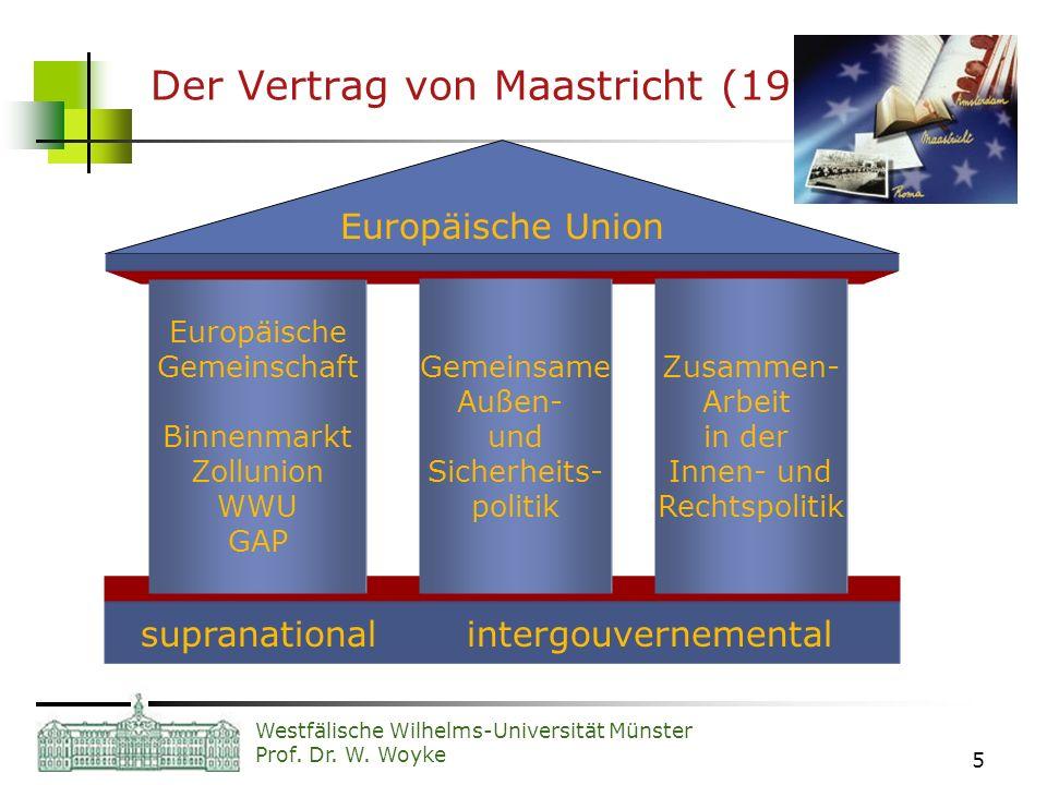Westfälische Wilhelms-Universität Münster Prof. Dr. W. Woyke 5 Der Vertrag von Maastricht (1993) Europäische Union supranational intergouvernemental E