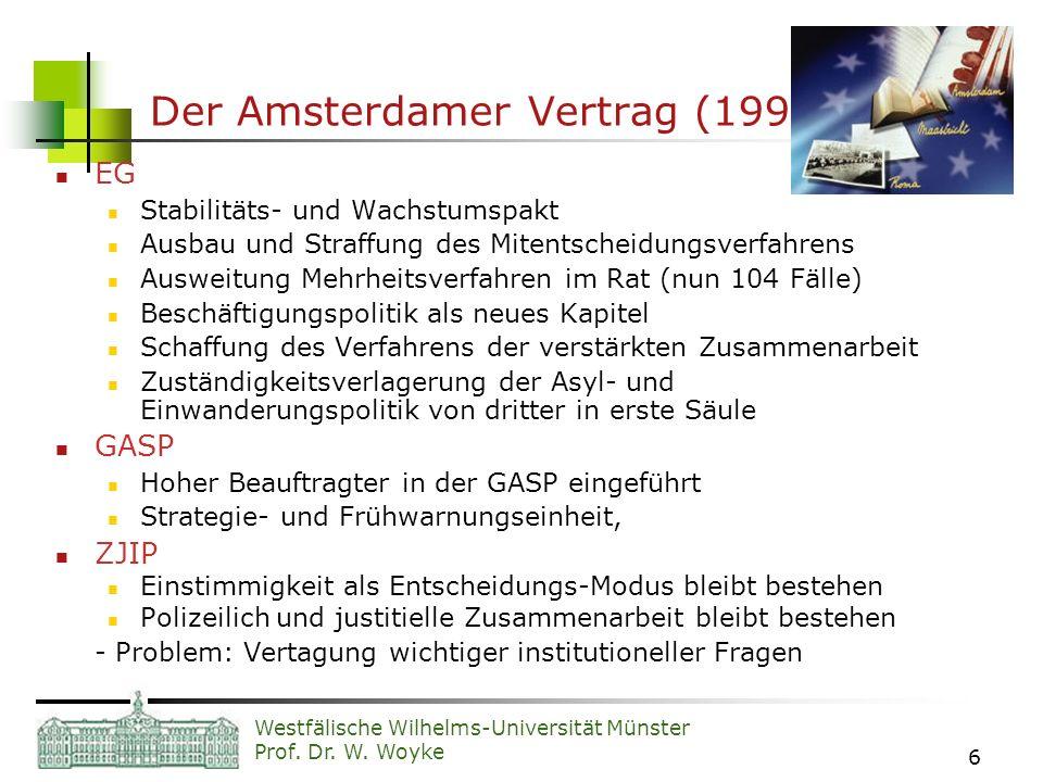 Westfälische Wilhelms-Universität Münster Prof. Dr. W. Woyke 6 Der Amsterdamer Vertrag (1999) EG Stabilitäts- und Wachstumspakt Ausbau und Straffung d
