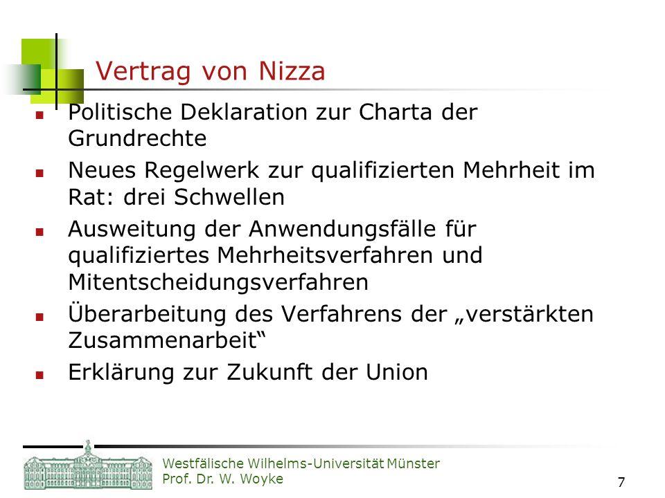 Westfälische Wilhelms-Universität Münster Prof. Dr. W. Woyke 7 Vertrag von Nizza Politische Deklaration zur Charta der Grundrechte Neues Regelwerk zur