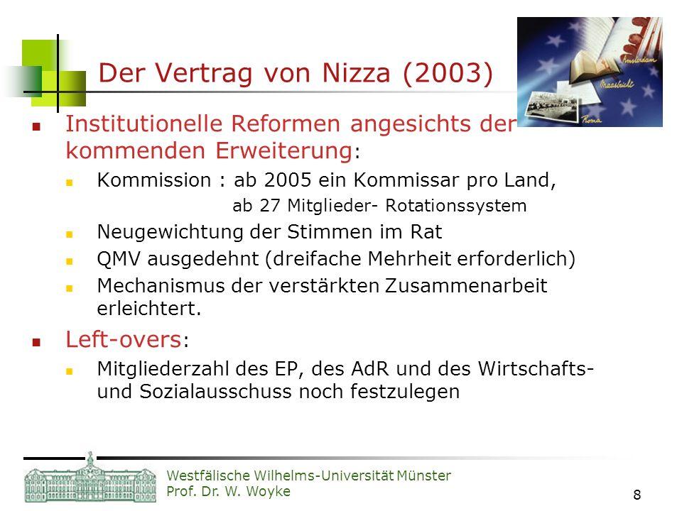 Westfälische Wilhelms-Universität Münster Prof. Dr. W. Woyke 8 Der Vertrag von Nizza (2003) Institutionelle Reformen angesichts der kommenden Erweiter