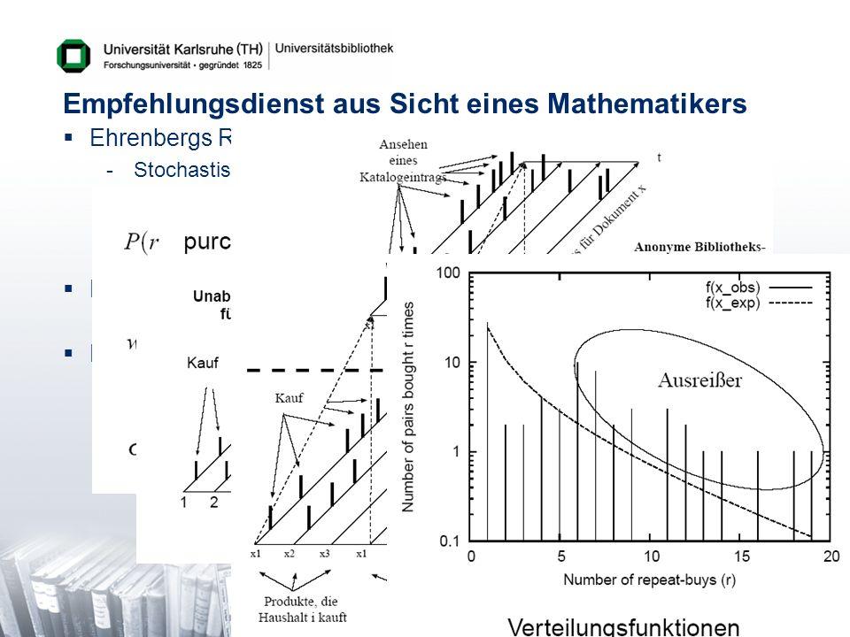 Empfehlungsdienst aus Sicht eines Mathematikers Ehrenbergs Repeat-Buying Theorie -Stochastisches Kaufverhaltensmodell -Kaufverteilung von Produktpaare