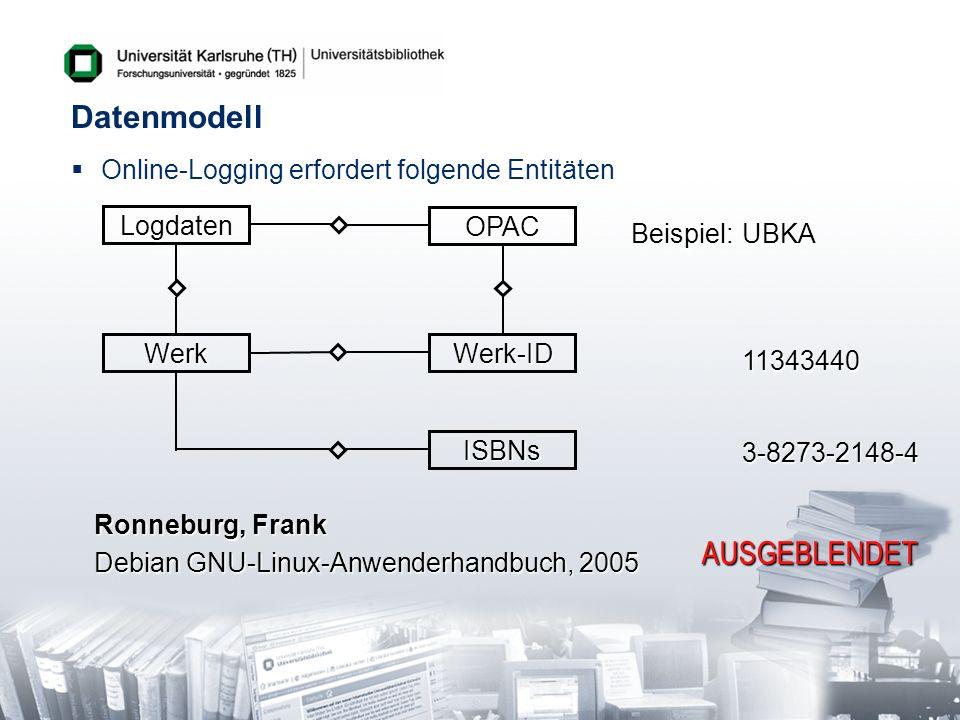 Datenmodell Online-Logging erfordert folgende EntitätenLogdaten Werk ISBNs Werk-ID OPAC Beispiel:UBKA 11343440 3-8273-2148-4 Ronneburg, Frank Debian G