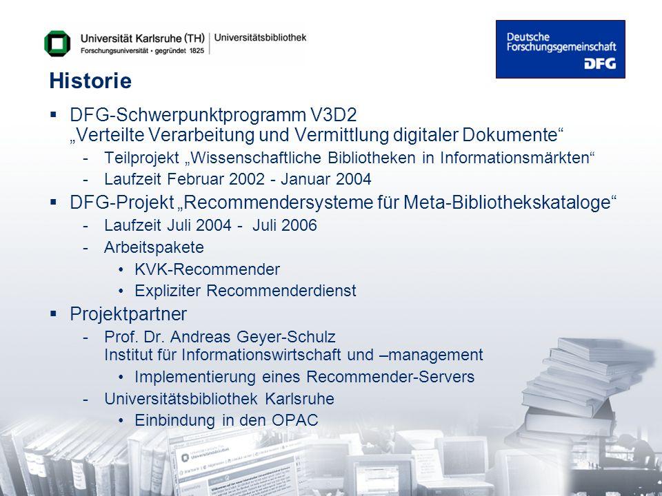 Historie DFG-Schwerpunktprogramm V3D2 Verteilte Verarbeitung und Vermittlung digitaler Dokumente -Teilprojekt Wissenschaftliche Bibliotheken in Inform