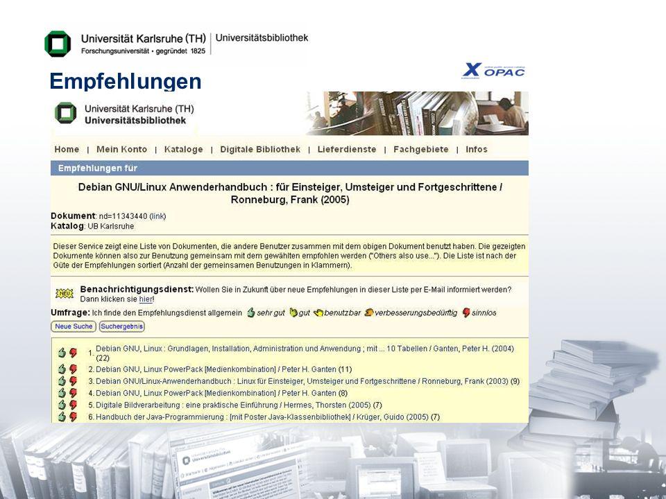 Kennzahlen zum XOPAC-Recommender 500.000 Empfehlungslisten -Empfehlungen für ca.