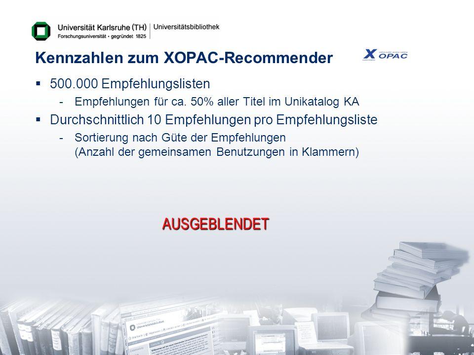 Praktischer Einsatz in Karlsruhe Datenerhebung -Früher: access_log des Apache Web-Server -Heute: Online-Logging im Moment der Volltitelanzeige exist recommendation ?-Prüfung überträgt Logdaten online Session-ID, OPAC, Titel-ID, ISBN, Uhrzeit Vorteil: Jeder OPAC könnte den Recommenderdienst nutzen .