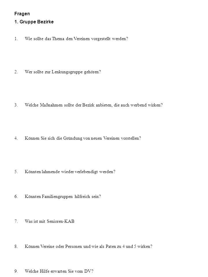 Fragen 1. Gruppe Bezirke 1. Wie sollte das Thema den Vereinen vorgestellt werden? 2. Wer sollte zur Lenkungsgruppe gehören? 3. Welche Maßnahmen sollte