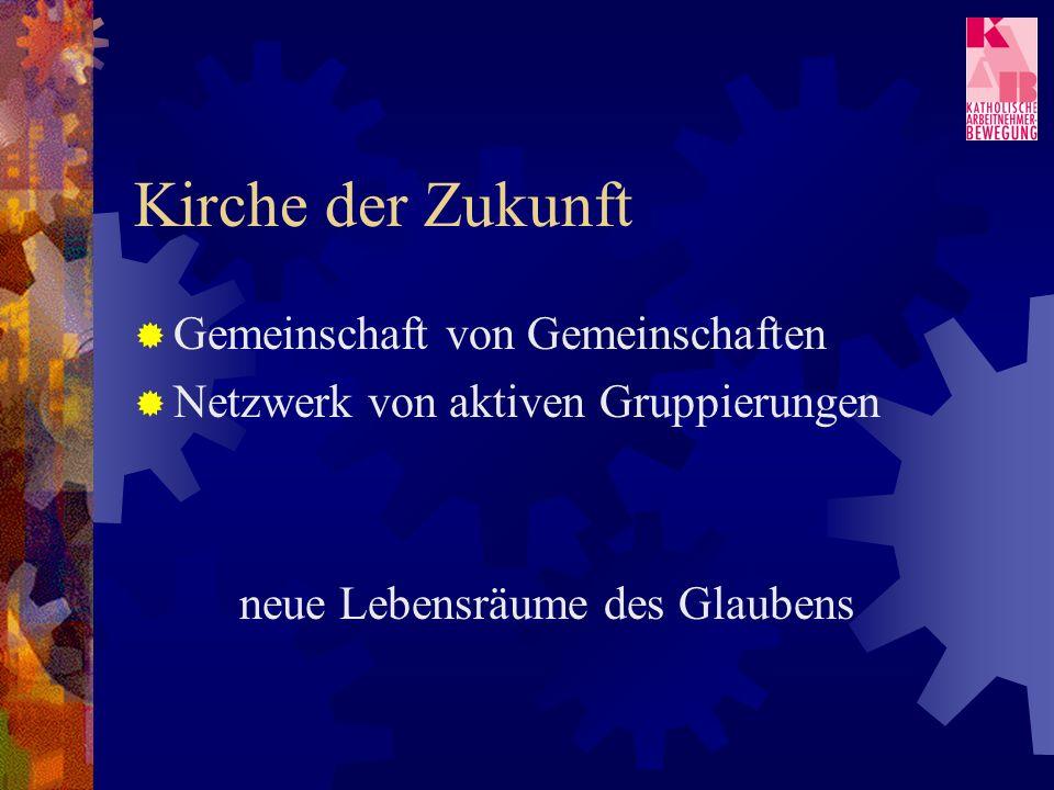 Kirche der Zukunft Gemeinschaft von Gemeinschaften Netzwerk von aktiven Gruppierungen neue Lebensräume des Glaubens