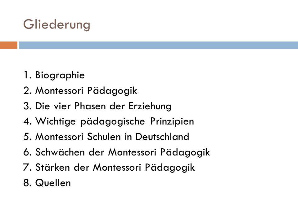 Gliederung 1. Biographie 2. Montessori Pädagogik 3. Die vier Phasen der Erziehung 4. Wichtige pädagogische Prinzipien 5. Montessori Schulen in Deutsch