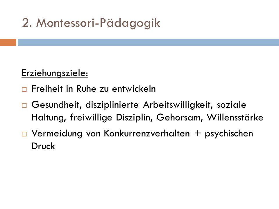 2. Montessori-Pädagogik Erziehungsziele: Freiheit in Ruhe zu entwickeln Gesundheit, disziplinierte Arbeitswilligkeit, soziale Haltung, freiwillige Dis