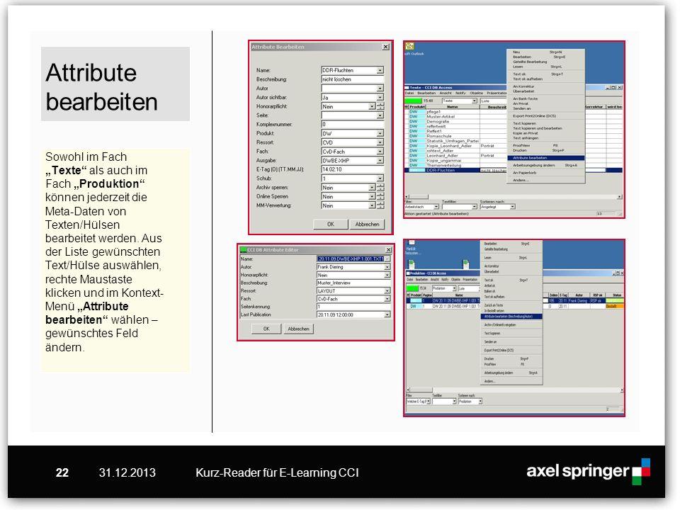 31.12.2013Kurz-Reader für E-Learning CCI22 Attribute bearbeiten Sowohl im Fach Texte als auch im Fach Produktion können jederzeit die Meta-Daten von T