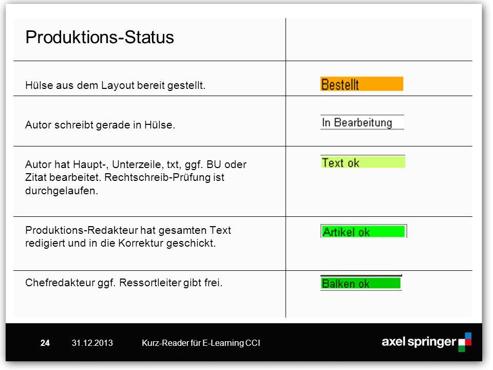 31.12.2013Kurz-Reader für E-Learning CCI24 Produktions-Status Hülse aus dem Layout bereit gestellt. Autor schreibt gerade in Hülse. Autor hat Haupt-,