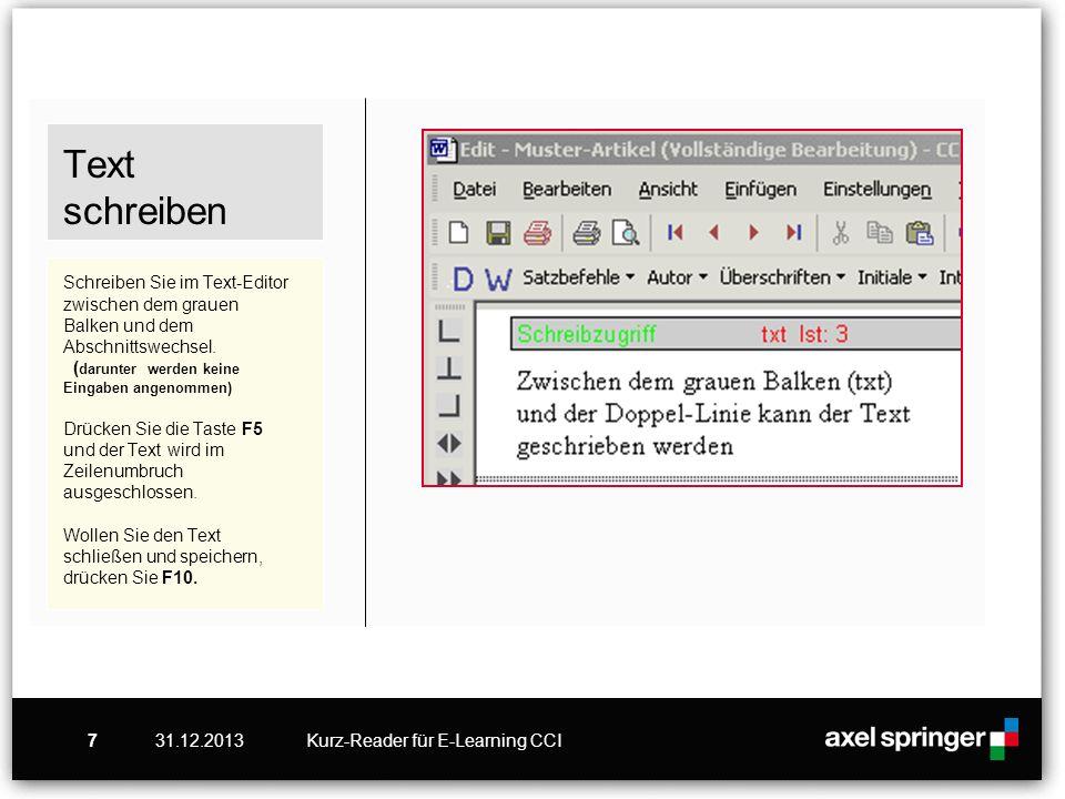 31.12.2013Kurz-Reader für E-Learning CCI7 Text schreiben Schreiben Sie im Text-Editor zwischen dem grauen Balken und dem Abschnittswechsel. ( darunter