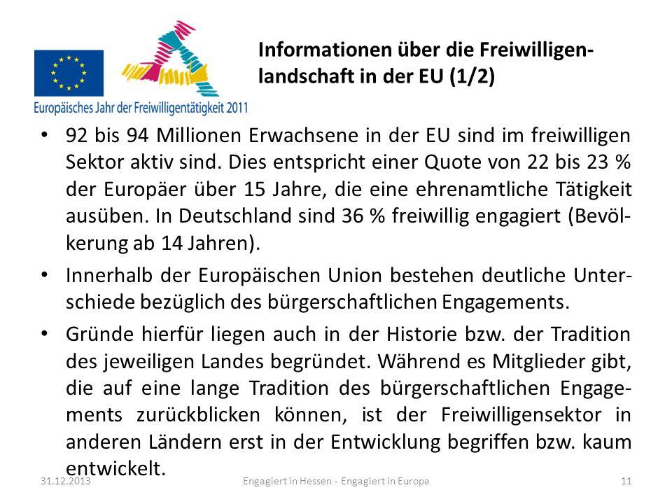 Informationen über die Freiwilligen- landschaft in der EU (2/2) Einen Überblick über die verschiedenen Mitgliedsstaaten gibt folgende Aufzählung: Sehr hoch in den Niederlanden, Österreich, Schweden und im Vereinigten König- reich, wo mehr als 40 % der Erwachsenen ehrenamtlich tätig sind.