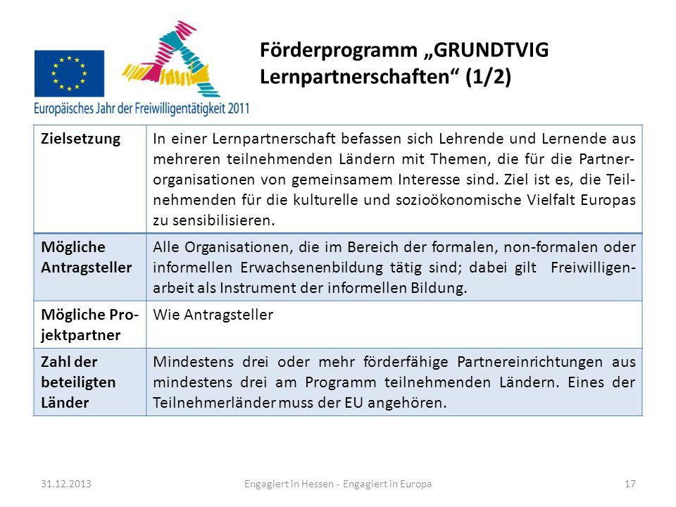 Förderprogramm GRUNDTVIG Lernpartnerschaften (2/2) 31.12.2013Engagiert in Hessen - Engagiert in Europa18 Weitere Förder- kriterien Es ist erwünscht, dass die Projektpartner Verbindungen mit lokalen Initiativen, aber auch mit Organisationen und Verwaltungen auf nationaler Ebene haben, um die Verbreitung der Ergebnisse zu sichern und eine möglichst große Wertschöpfung zu erzielen.