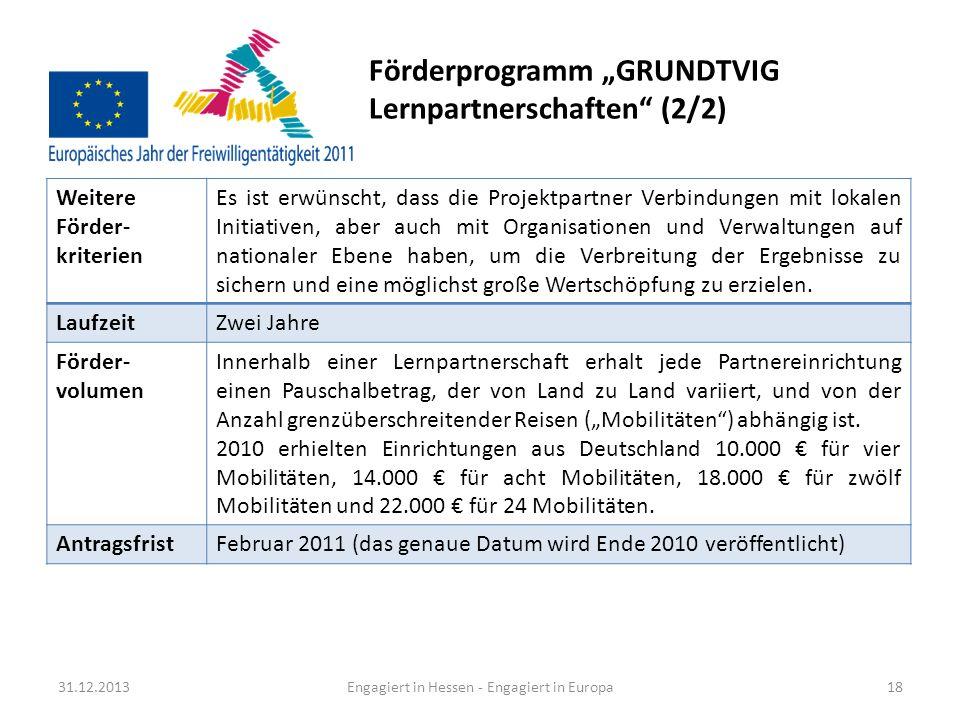 Fördermöglichkeiten für europäische Jugendprojekte In diesem Bereich gibt es sehr viele Fördermöglichkeiten (Details siehe Seite 56 der vorliegenden Broschüre).