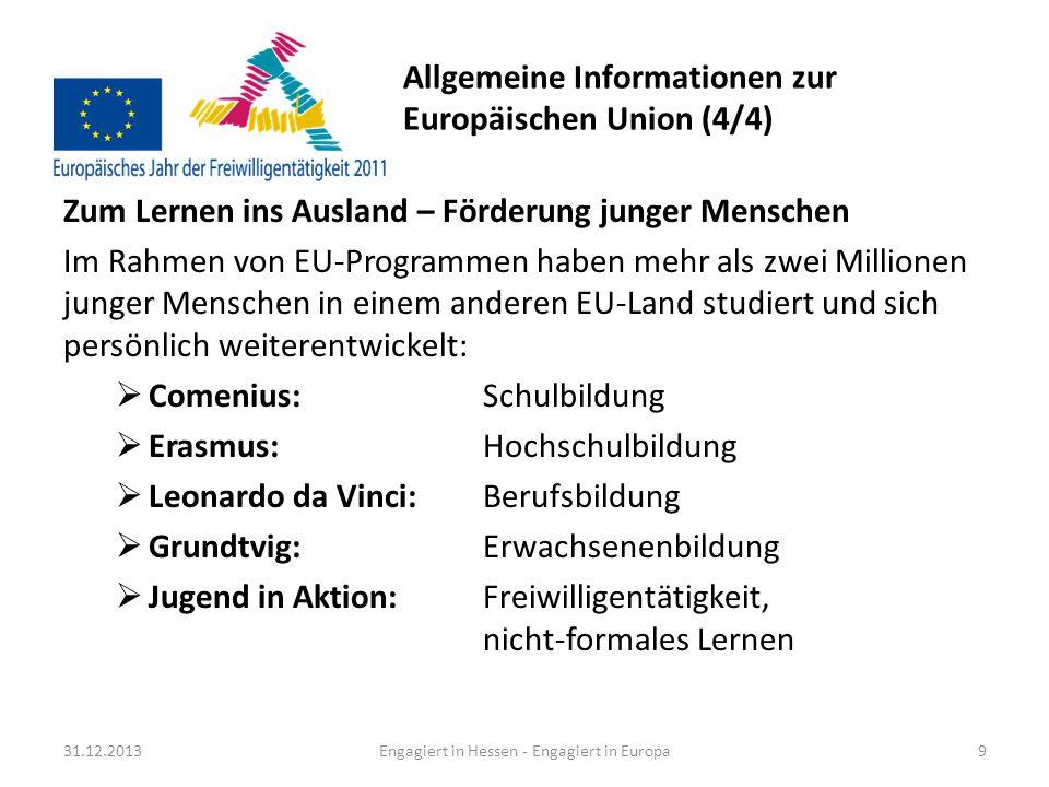 Informationen zum Europäischen Jahr der Freiwilligentätigkeit 2011 Freiwillig.