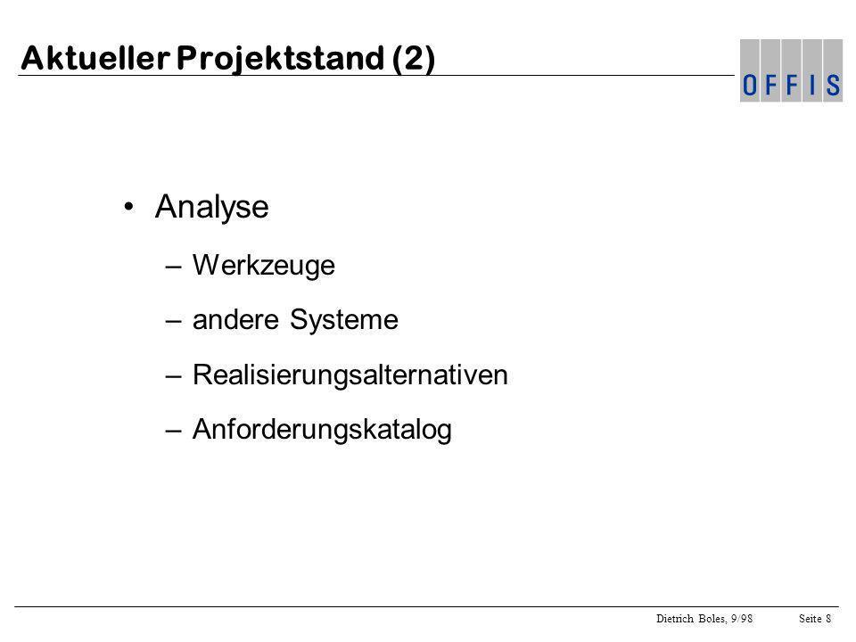 Dietrich Boles, 9/98Seite 8 Aktueller Projektstand (2) Analyse –Werkzeuge –andere Systeme –Realisierungsalternativen –Anforderungskatalog