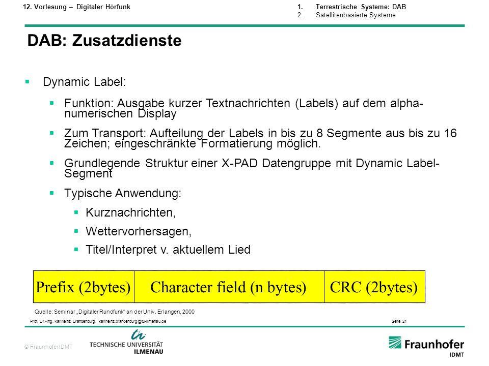 © Fraunhofer IDMT Prof. Dr.-Ing. Karlheinz Brandenburg, karlheinz.brandenburg@tu-ilmenau.de Seite 24 Dynamic Label: Funktion: Ausgabe kurzer Textnachr