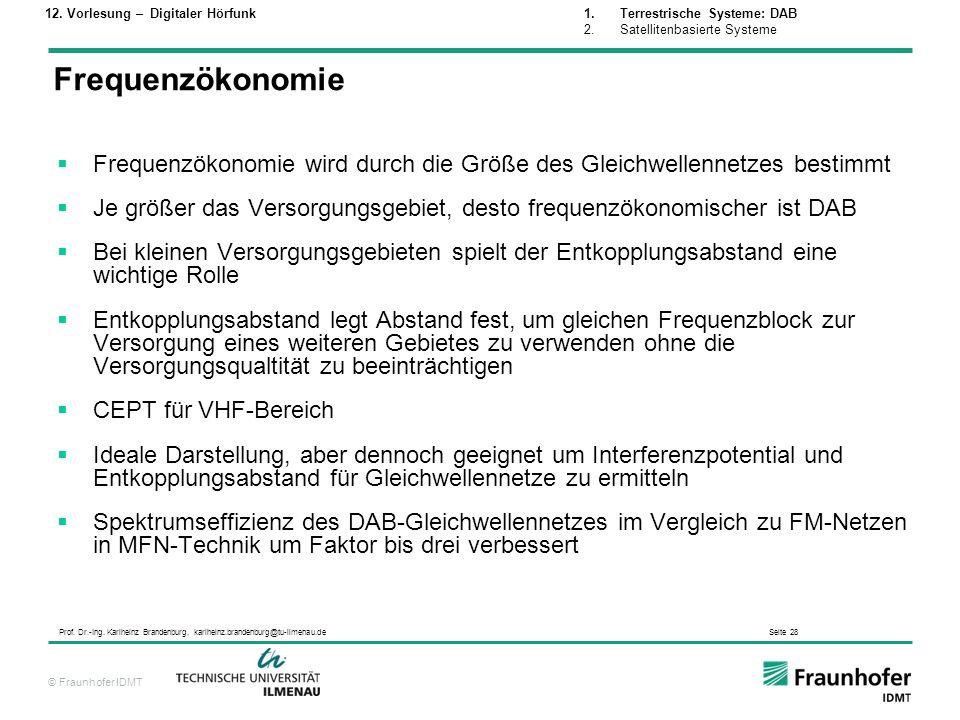 © Fraunhofer IDMT Prof. Dr.-Ing. Karlheinz Brandenburg, karlheinz.brandenburg@tu-ilmenau.de Seite 28 Frequenzökonomie wird durch die Größe des Gleichw