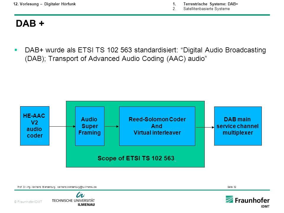 © Fraunhofer IDMT Prof. Dr.-Ing. Karlheinz Brandenburg, karlheinz.brandenburg@tu-ilmenau.de Seite 32 DAB+ wurde als ETSI TS 102 563 standardisiert: Di
