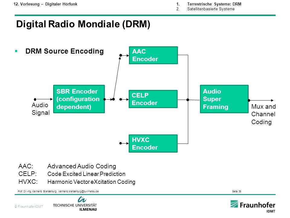 © Fraunhofer IDMT Prof. Dr.-Ing. Karlheinz Brandenburg, karlheinz.brandenburg@tu-ilmenau.de Seite 36 DRM Source Encoding SBR Encoder (configuration de