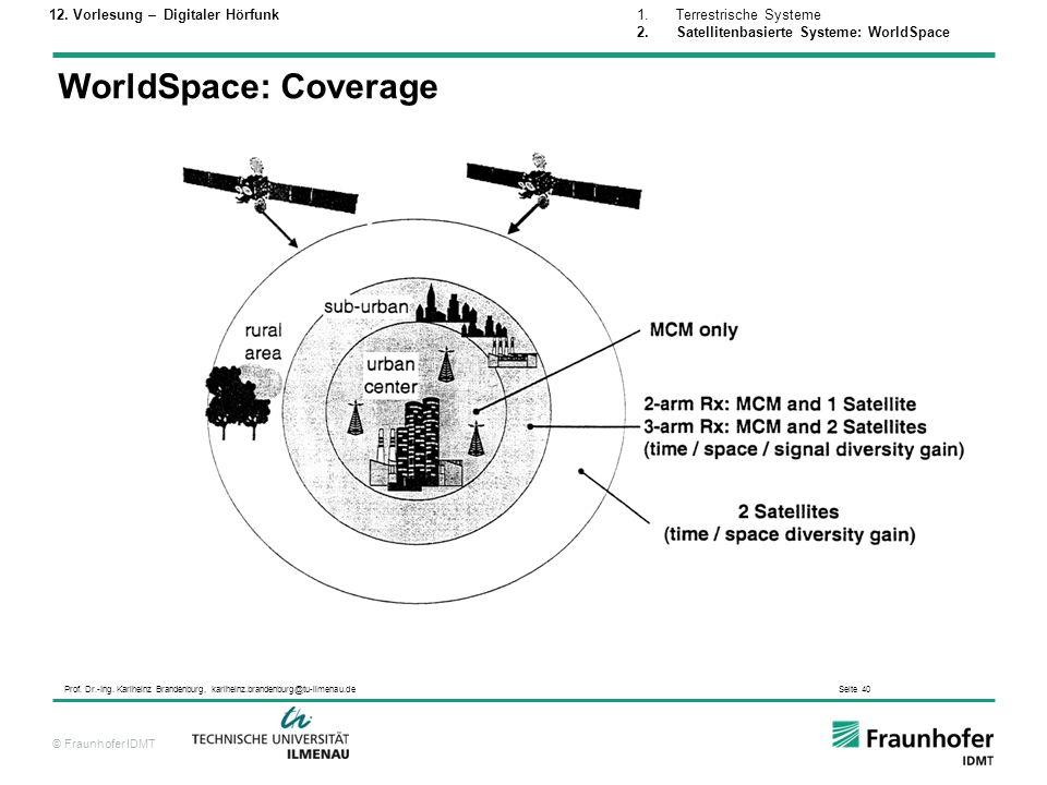 © Fraunhofer IDMT Prof. Dr.-Ing. Karlheinz Brandenburg, karlheinz.brandenburg@tu-ilmenau.de Seite 40 WorldSpace: Coverage 1.Terrestrische Systeme 2.Sa