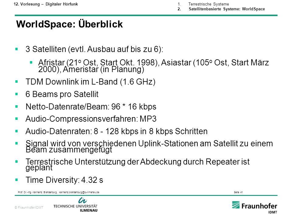 © Fraunhofer IDMT Prof. Dr.-Ing. Karlheinz Brandenburg, karlheinz.brandenburg@tu-ilmenau.de Seite 41 WorldSpace: Überblick 3 Satelliten (evtl. Ausbau
