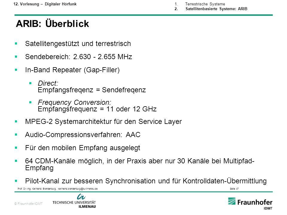 © Fraunhofer IDMT Prof. Dr.-Ing. Karlheinz Brandenburg, karlheinz.brandenburg@tu-ilmenau.de Seite 47 Satellitengestützt und terrestrisch Sendebereich: