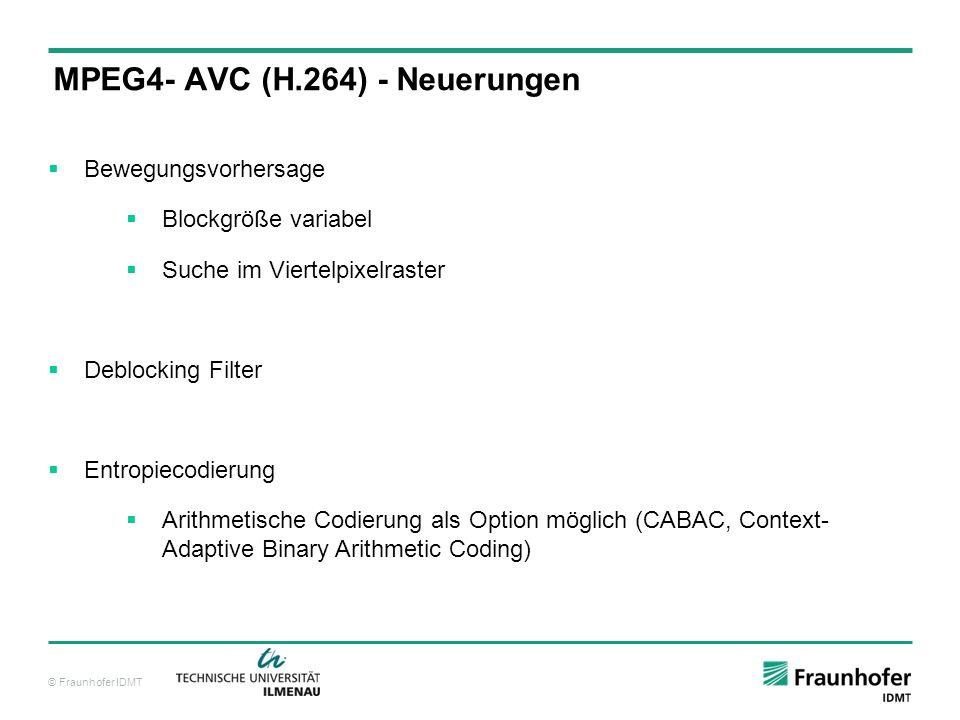© Fraunhofer IDMT Bewegungsvorhersage Blockgröße variabel Suche im Viertelpixelraster Deblocking Filter Entropiecodierung Arithmetische Codierung als