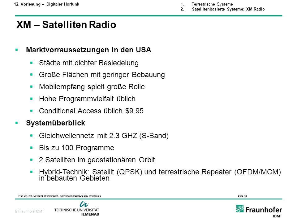© Fraunhofer IDMT Prof. Dr.-Ing. Karlheinz Brandenburg, karlheinz.brandenburg@tu-ilmenau.de Seite 55 XM – Satelliten Radio Marktvorraussetzungen in de