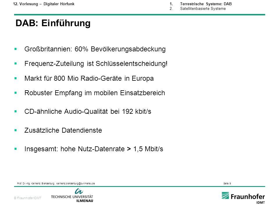 © Fraunhofer IDMT Prof. Dr.-Ing. Karlheinz Brandenburg, karlheinz.brandenburg@tu-ilmenau.de Seite 9 DAB: Einführung Großbritannien: 60% Bevölkerungsab