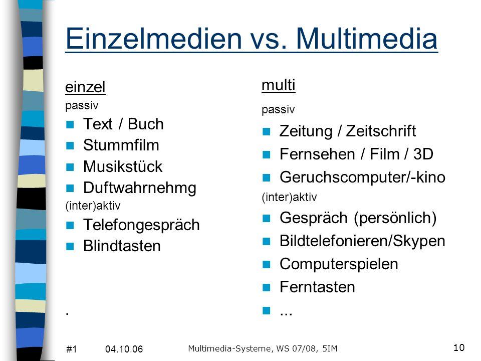 #1 04.10.06 Multimedia-Systeme, WS 07/08, 5IM 9 Multimedia ist... blinkt... wenns blinkt und zappelt und kracht... Die gleichzeitige Präsentation von