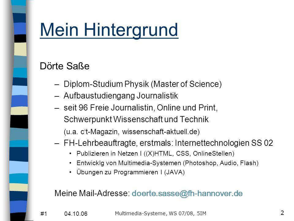 #1 04.10.06 Multimedia-Systeme, WS 07/08, 5IM 12 Hypermedia ist...