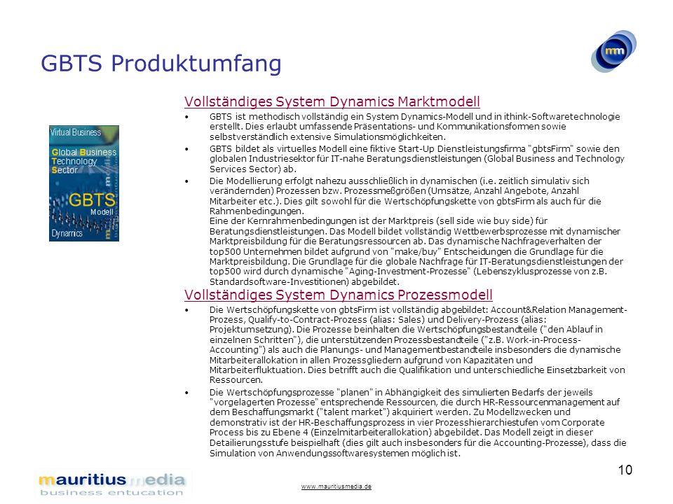 www.mauritiusmedia.de 10 GBTS Produktumfang Vollständiges System Dynamics Marktmodell GBTS ist methodisch vollständig ein System Dynamics-Modell und i